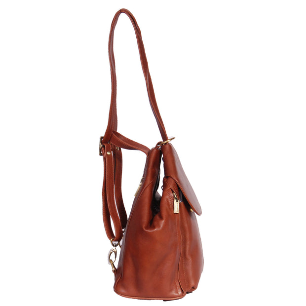 Womens Genuine Brown Leather Backpack Walking Bag A57 Side