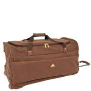 "Wheeled Holdall 30"" Large Camel Faux Leather Travel Duffle Bag Swoose"