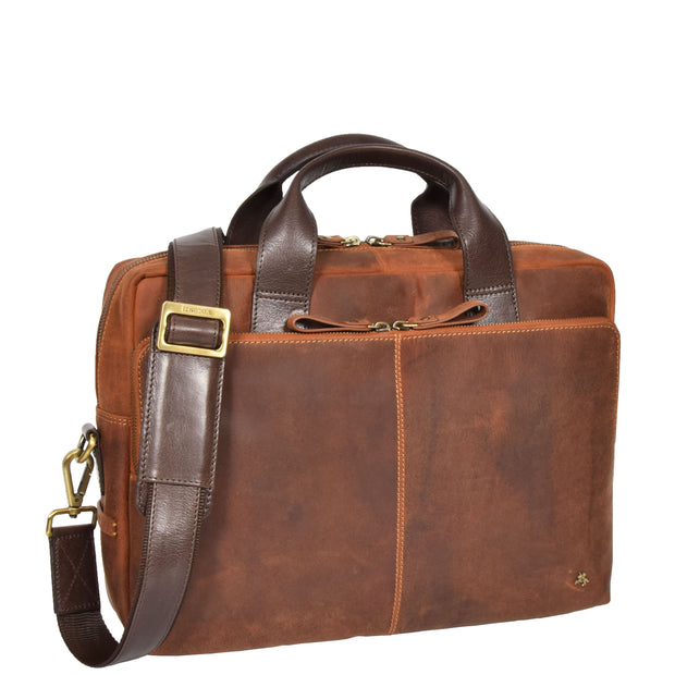 Leather Briefcase Vintage TAN Messenger Shoulder Bag Hanoi