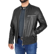 Mens Fitted Black Leather Biker Jacket Zip Fasten Brock Open 1