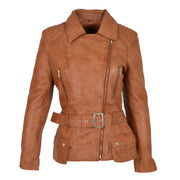 Womens Biker Leather Jacket Slim Fit Cut Hip Length Coat Coco Tan Front 2