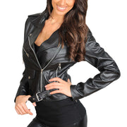 Ladies Belted Gorgeous Fitted Biker Real Leather Jacket Megan Black Front