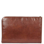 Real Leather Zip Around Folio Underarm iPad Tablet Bag Brown A28 Back
