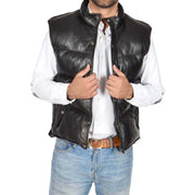 Mens Quilted Leather Waistcoat Body Warmer Gilet Jeff Black Open 1