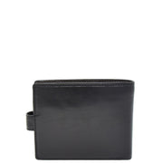Mens Genuine Italian Leather Snap Closure Wallet AVZ5 Black Back