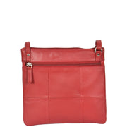 Womens Cross-Body Leather Bag Slim Shoulder Travel Bag A08 Red Back