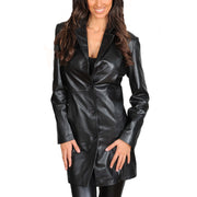 Ladies Real Leather 3/4 Length Fitted Jacket Rachel Black Front