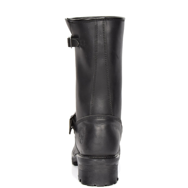 Real Leather Round Toe Buckle Design Biker Boots ATB45H Black Back