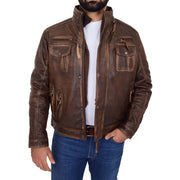 Rust Rub Off Biker Leather Jacket For Men Vintage Rugged Style Coat Mario Open 1