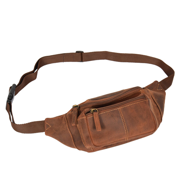 Real Leather Bum Bag Money Mobile Belt Waist Pack Travel Pouch A072 Dark Tan