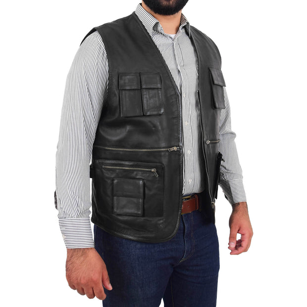 Mens Real Black Soft Leather Fisherman Waistcoat Multi Pockets Gilet Curt Open 2