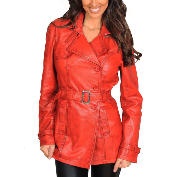 Womens Soft Leather Trench Coat Olivia Red Front