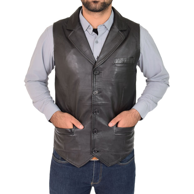 Mens Genuine Soft Leather Waistcoat Western Vest Yelek Rhys Black