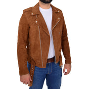 Genuine Suede Leather Biker Jacket For Mens Fitted Brando Coat Jay Cognac Open 3