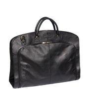 Genuine Soft Leather Suit Carrier Dress Garment Bag A173 Black Front