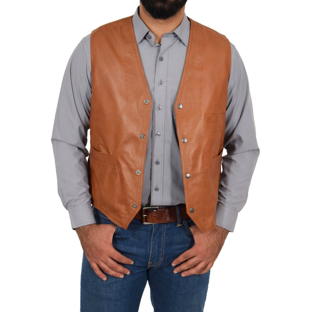 Mens Soft Leather Waistcoat Classic Gilet Bruno Tan open view