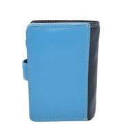 Womens Leather Booklet Evening Clutch Purse Multi Colour Wallet AVB51 Blue Back
