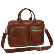 Pure Leather Briefcase Laptop Satchel Office Business Bag Otis Cognac Belt