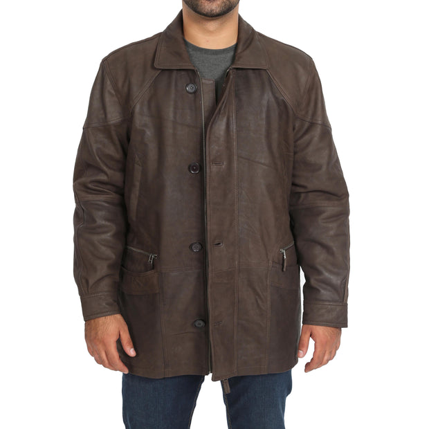 Gents Classic Soft Leather Parka Overcoat Clive Brown Front Open