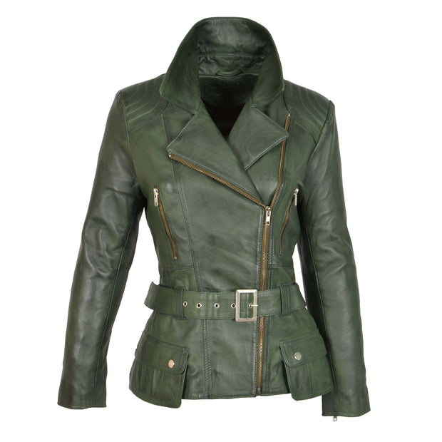 Womens Biker Leather Jacket Slim Fit Cut Hip Length Coat Coco Green Front 3