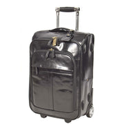 Real Leather Suitcase Cabin Trolley Hand Luggage A0518 Black Front Angle
