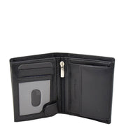 Mens Soft Leather Small Wallet Bifold Purse AL03 Black Open 1