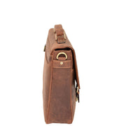 Mens REAL Leather Briefcase Vintage Look Satchel Shoulder Bag A167 Tan Side