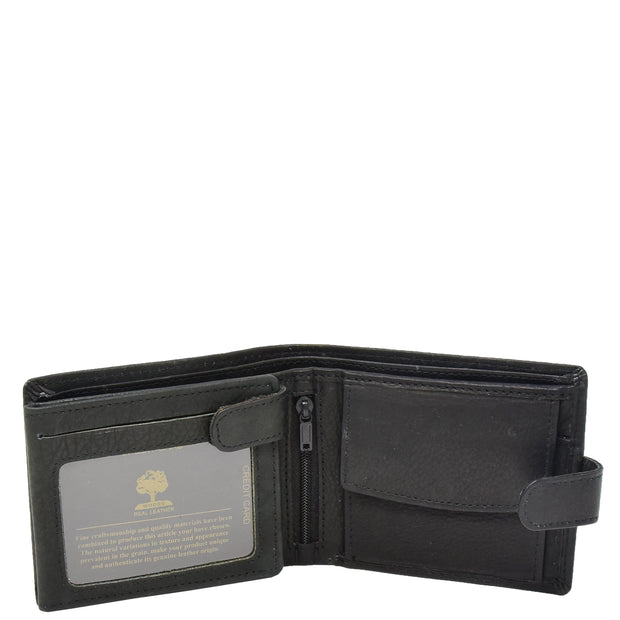 Mens Real Leather Bifold Clip Closure Wallet AV86 Black Open 1