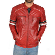 Mens Biker Leather Jacket Stripes Standing Collar Coat Ricky Red Front 1