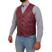 Mens Full Leather Waistcoat Burgundy Gilet Traditional Smart Vest King Front Angle