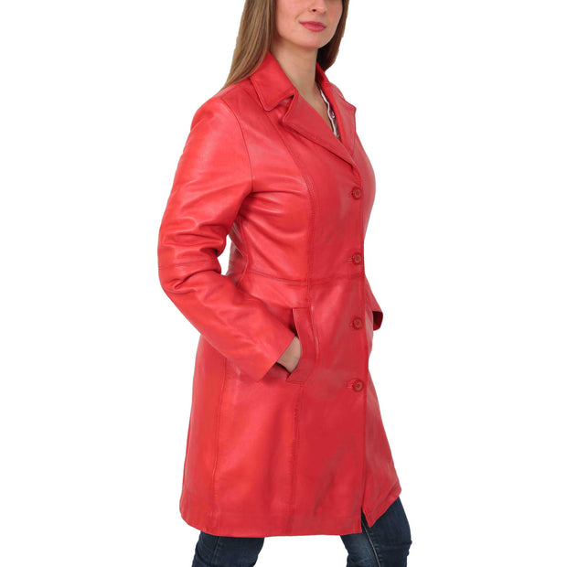 Womens 3/4 Button Fasten Leather Coat Cynthia Red Front