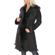 Womens Luxurious Toscana Long Coat Real Sheepskin Pamela Black Front 1