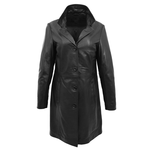 Ladies 3/4 Long Classic Fitted Soft Leather Knee Length Coat Laura Black Front