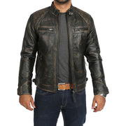 Gents Washed Biker Leather Jacket Django Rub Off Open