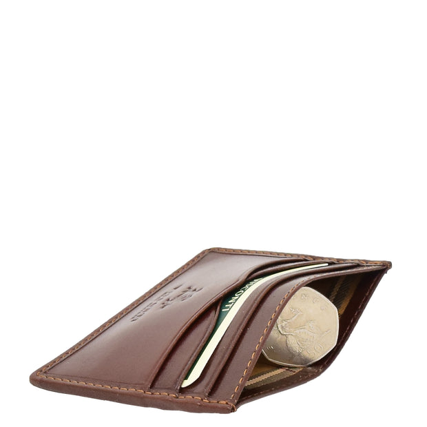 Real Leather Compact Card Wallet Small Slim Oysters Card Holder AVT1 Brown Side