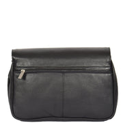 Womens Black Leather Shoulder Messenger Handbag Ada Back