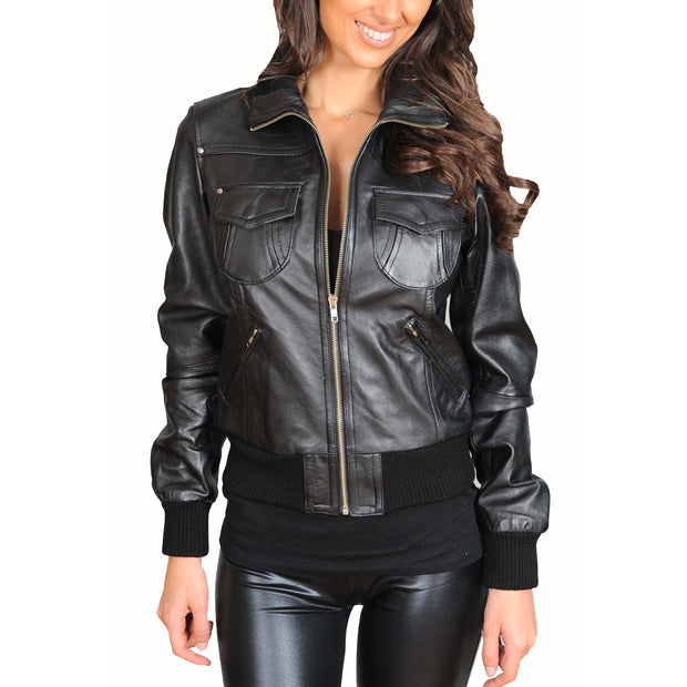 Womens Slim Fit Bomber Leather Jacket Cameron Black front view