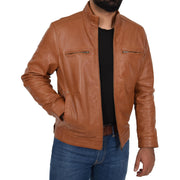 Mens Genuine Leather Biker Jacket Fitted Zip Up Coat Felix Tan Open 1