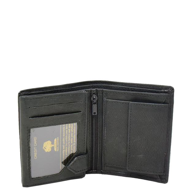 Mens Real Leather Bifold Wallet Credit Cards Coins Note Holder AV61 Black Open 1