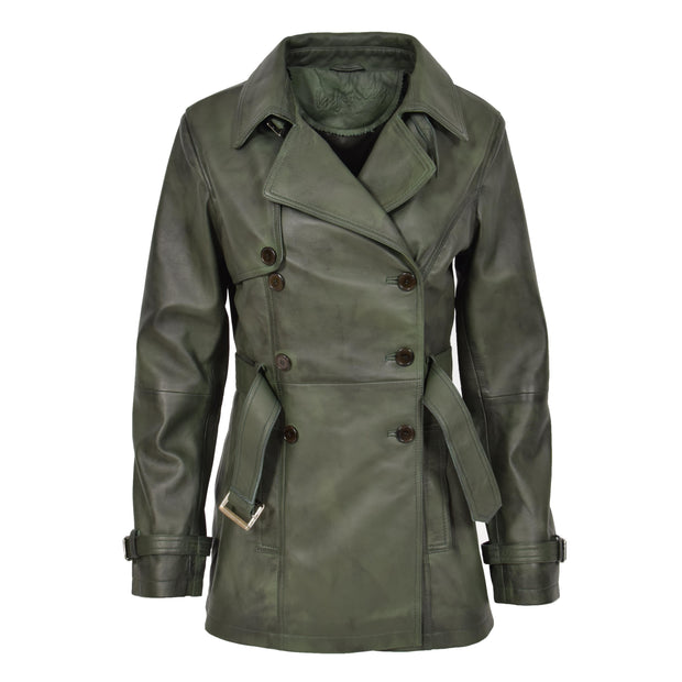 Womens Soft Leather Trench Coat Olivia Green Front 1
