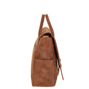 Men Briefcase Vintage Tan Hunter Leather Soft Satchel Laptop Bag Leon Side