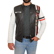 Mens Biker Leather Jacket Black White Sleeves Badges Stripes Sports Style Gears Front Open