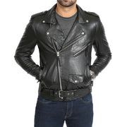 Mens Brando Biker Leather Jacket Elvis Black pockets