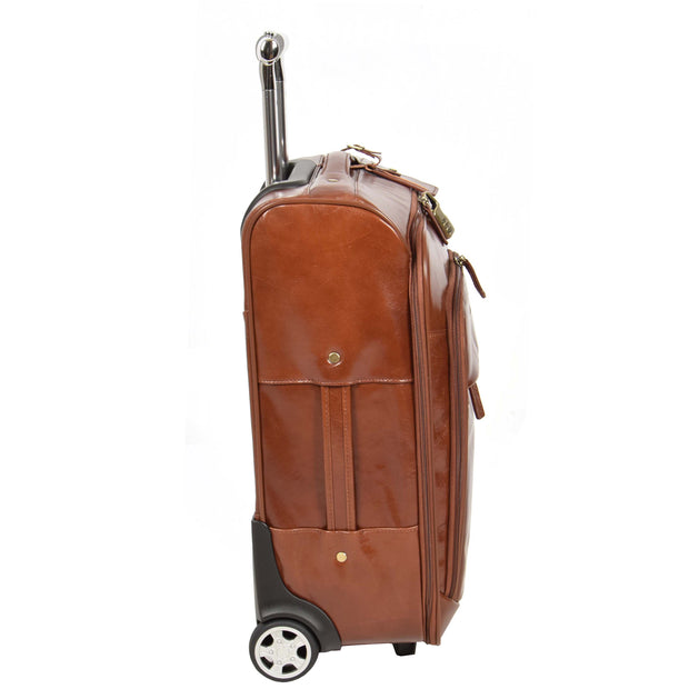 Real Leather Suitcase Cabin Trolley Hand Luggage A0518 Chestnut Side 1