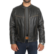 Mens Biker Style Leather Jacket Vintage Rub Off Effect Matt Brown zip open view
