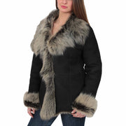 Womens Fitted Genuine Toscana Real Sheepskin Coat Pearl Black