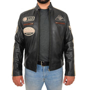 Mens BLACK Leather Biker Jacket Slim Fit Motor Sports Badges Coat Wayne Open Front