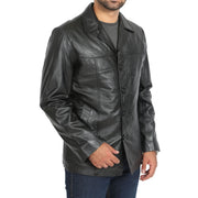Mens Classic Blazer Buttoned Box Jacket Harris Black
