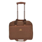 Pilot Case Wheeled Briefcase Camel Faux Suede Business Cabin Bag Stargazer Front