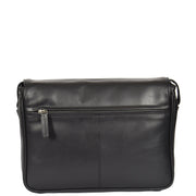 Ladies BLACK Leather Shoulder Bag Flap Over Handbag A190 Back